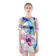 Watercolor spring flowers Cutout Shoulder Dress