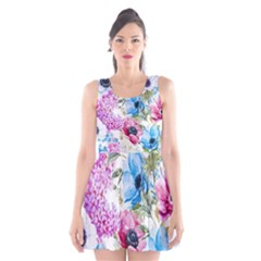 Watercolor spring flowers Scoop Neck Skater Dress