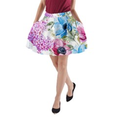 Watercolor spring flowers A-Line Pocket Skirt