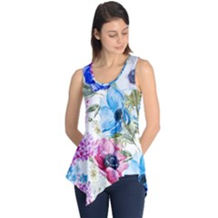 Watercolor spring flowers Sleeveless Tunic