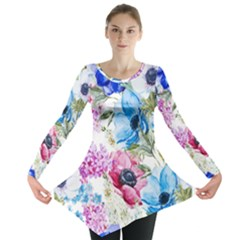 Watercolor spring flowers Long Sleeve Tunic