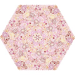 Ornamental Pattern With Hearts And Flowers  Mini Folding Umbrellas