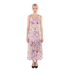 Ornamental pattern with hearts and flowers  Full Print Maxi Dress