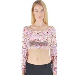 Ornamental pattern with hearts and flowers  Long Sleeve Crop Top
