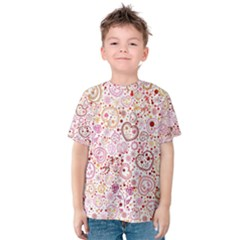 Ornamental pattern with hearts and flowers  Kid s Cotton Tee