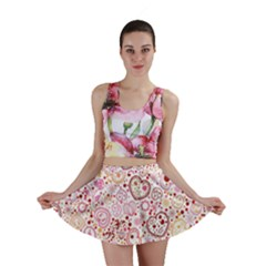 Ornamental Pattern With Hearts And Flowers  Mini Skirts