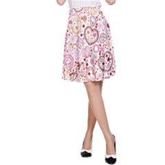 Ornamental Pattern With Hearts And Flowers  A Line Skirt