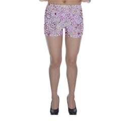 Ornamental pattern with hearts and flowers  Skinny Shorts