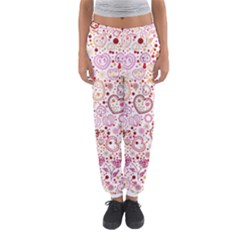 Ornamental pattern with hearts and flowers  Women s Jogger Sweatpants
