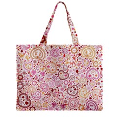 Ornamental Pattern With Hearts And Flowers  Zipper Mini Tote Bag