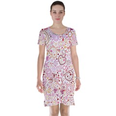 Ornamental pattern with hearts and flowers  Short Sleeve Nightdress