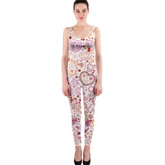 Ornamental Pattern With Hearts And Flowers  Onepiece Catsuit