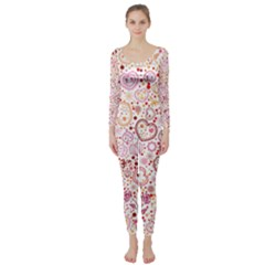 Ornamental Pattern With Hearts And Flowers  Long Sleeve Catsuit