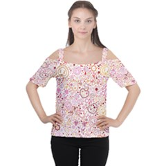 Ornamental Pattern With Hearts And Flowers  Women s Cutout Shoulder Tee
