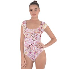 Ornamental Pattern With Hearts And Flowers  Short Sleeve Leotard (ladies)