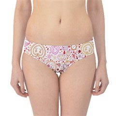 Ornamental pattern with hearts and flowers  Hipster Bikini Bottoms