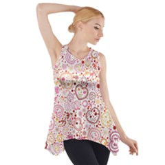 Ornamental pattern with hearts and flowers  Side Drop Tank Tunic