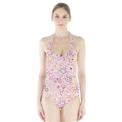 Ornamental pattern with hearts and flowers  Women s Halter One Piece Swimsuit