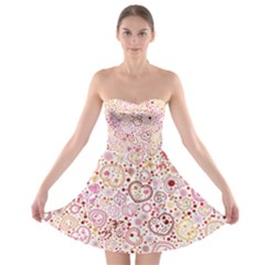 Ornamental pattern with hearts and flowers  Strapless Dresses