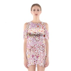 Ornamental pattern with hearts and flowers  Cutout Shoulder Dress