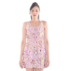 Ornamental pattern with hearts and flowers  Scoop Neck Skater Dress
