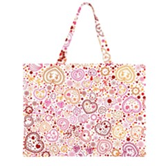 Ornamental pattern with hearts and flowers  Large Tote Bag