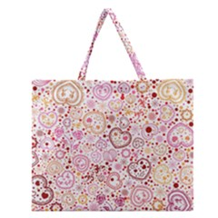 Ornamental Pattern With Hearts And Flowers  Zipper Large Tote Bag