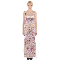Ornamental pattern with hearts and flowers  Maxi Thigh Split Dress