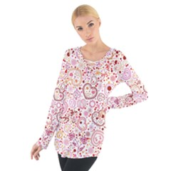 Ornamental pattern with hearts and flowers  Women s Tie Up Tee