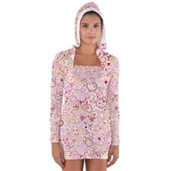 Ornamental Pattern With Hearts And Flowers  Women s Long Sleeve Hooded T Shirt