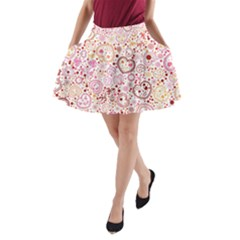 Ornamental Pattern With Hearts And Flowers  A Line Pocket Skirt