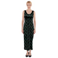 Brick2 Black Marble & Green Marble Fitted Maxi Dress