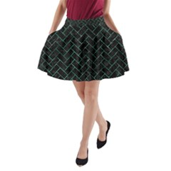 Brick2 Black Marble & Green Marble A Line Pocket Skirt