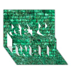 Brick1 Black Marble & Green Marble (r) Get Well 3d Greeting Card (7x5)