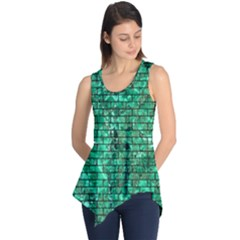 Brick1 Black Marble & Green Marble (r) Sleeveless Tunic