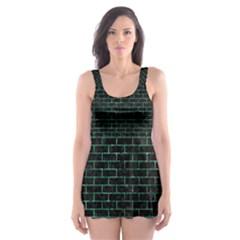 BRK1 BK-GR MARBLE Skater Dress Swimsuit