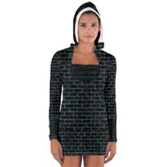 Brick1 Black Marble & Green Marble Long Sleeve Hooded T Shirt