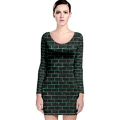 Brick1 Black Marble & Green Marble Long Sleeve Velvet Bodycon Dress
