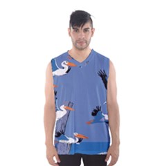 Abstract Pelicans Seascape Tropical Pop Art Men s Basketball Tank Top
