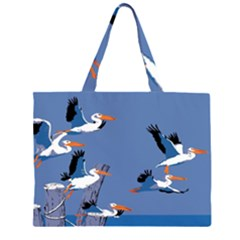 abstract Pelicans seascape tropical pop art Large Tote Bag
