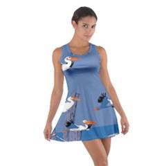 abstract Pelicans seascape tropical pop art Racerback Dresses