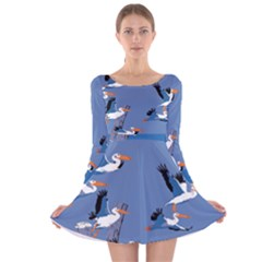 abstract Pelicans seascape tropical pop art Long Sleeve Velvet Skater Dress