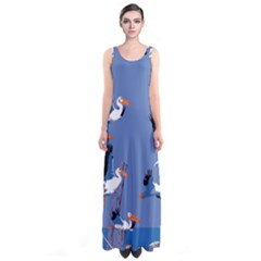 Abstract Pelicans Seascape Tropical Pop Art Full Print Maxi Dress