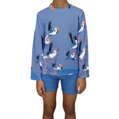 Abstract Pelicans Seascape Tropical Pop Art Kid s Long Sleeve Swimwear