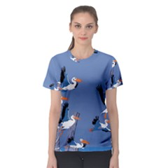 Abstract Pelicans Seascape Tropical Pop Art Women s Sport Mesh Tee