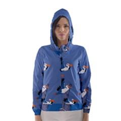 Abstract Pelicans Seascape Tropical Pop Art Hooded Wind Breaker (women)