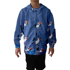 abstract Pelicans seascape tropical pop art Hooded Wind Breaker (Kids)