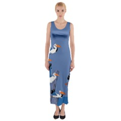 Abstract Pelicans Seascape Tropical Pop Art Fitted Maxi Dress