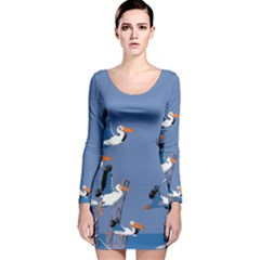 abstract Pelicans seascape tropical pop art Long Sleeve Velvet Bodycon Dress