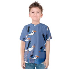 abstract Pelicans seascape tropical pop art Kid s Cotton Tee